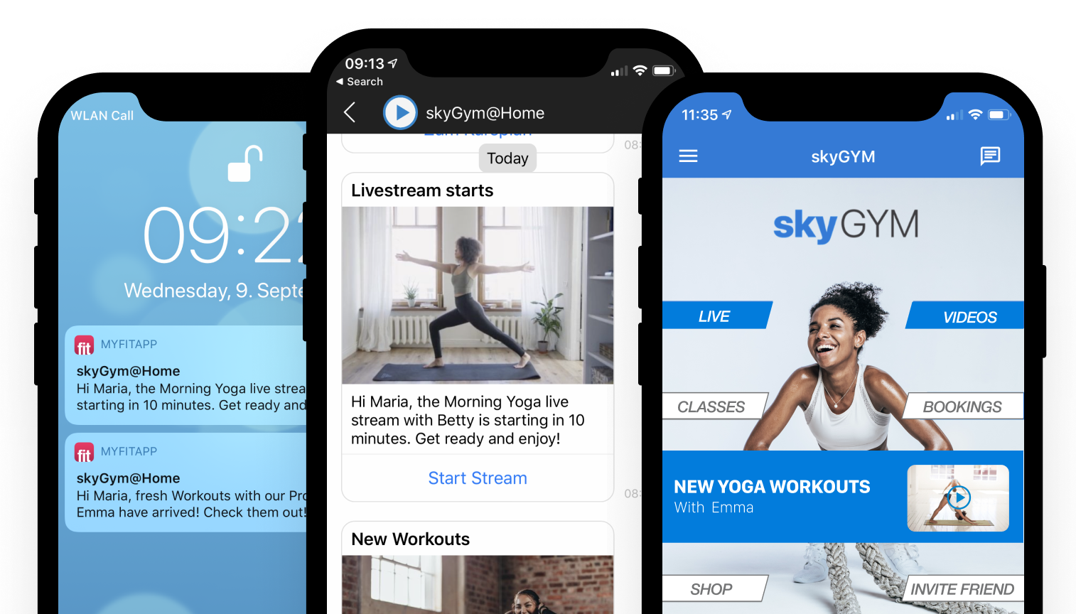 myFitApp@home Built-in Marketing tools to promote videos and streams with push messages