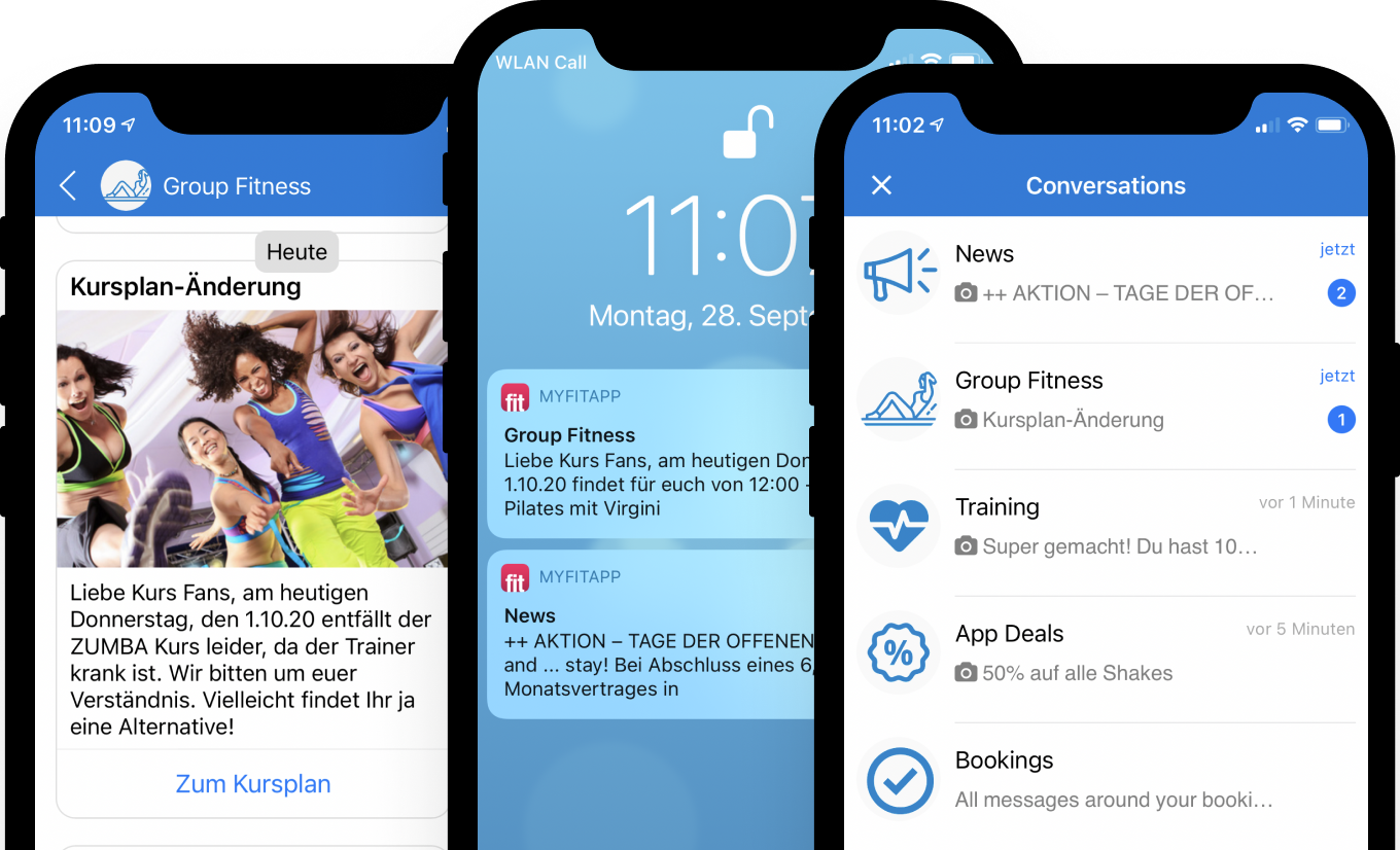 myFitApp Branded app messaging with push notifications