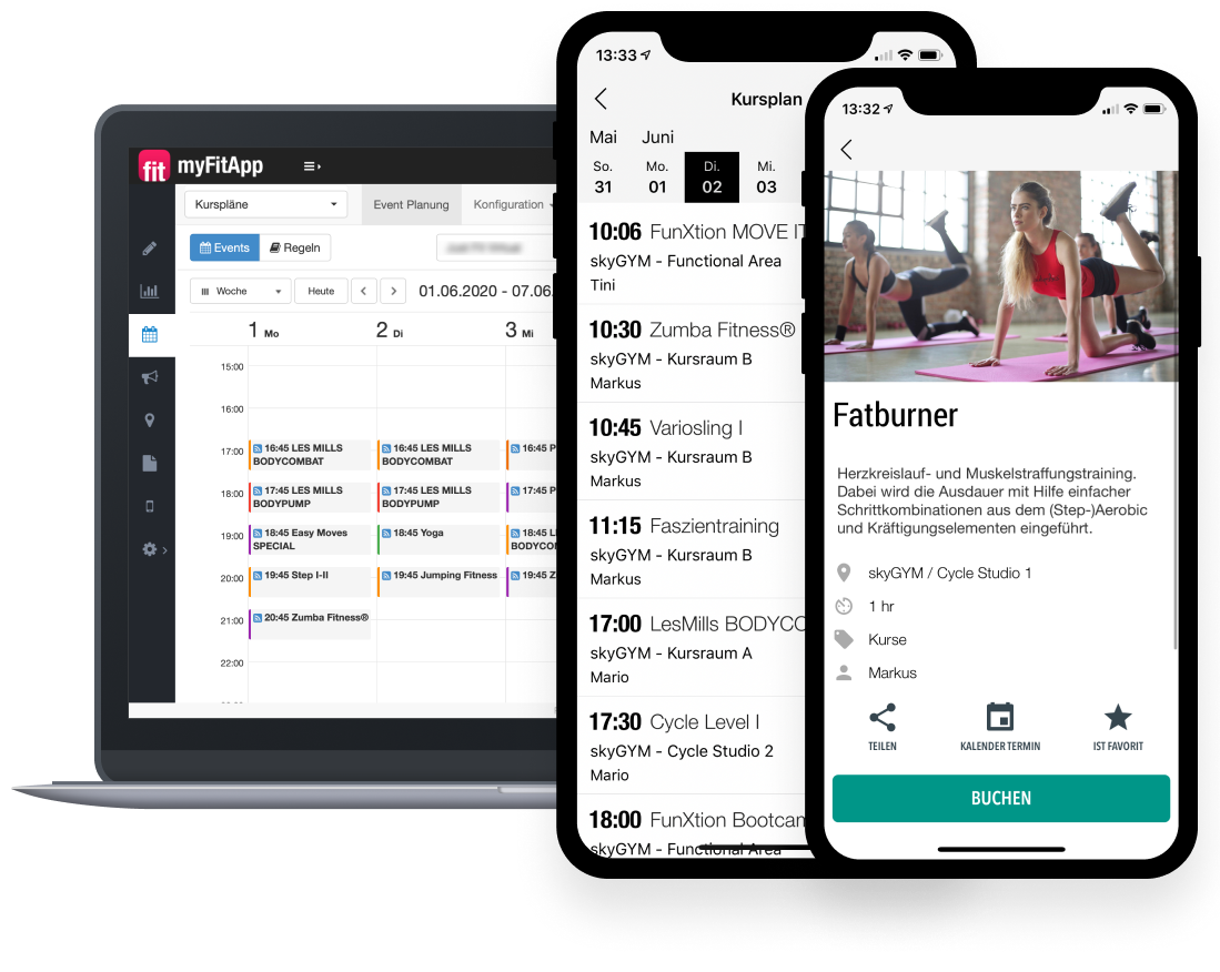 myFitApp Branded Member App Kursbuchung