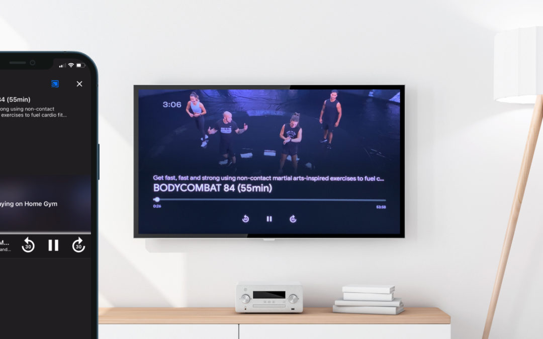 Stream workouts to the largest screen at home with Chromecast and Airplay