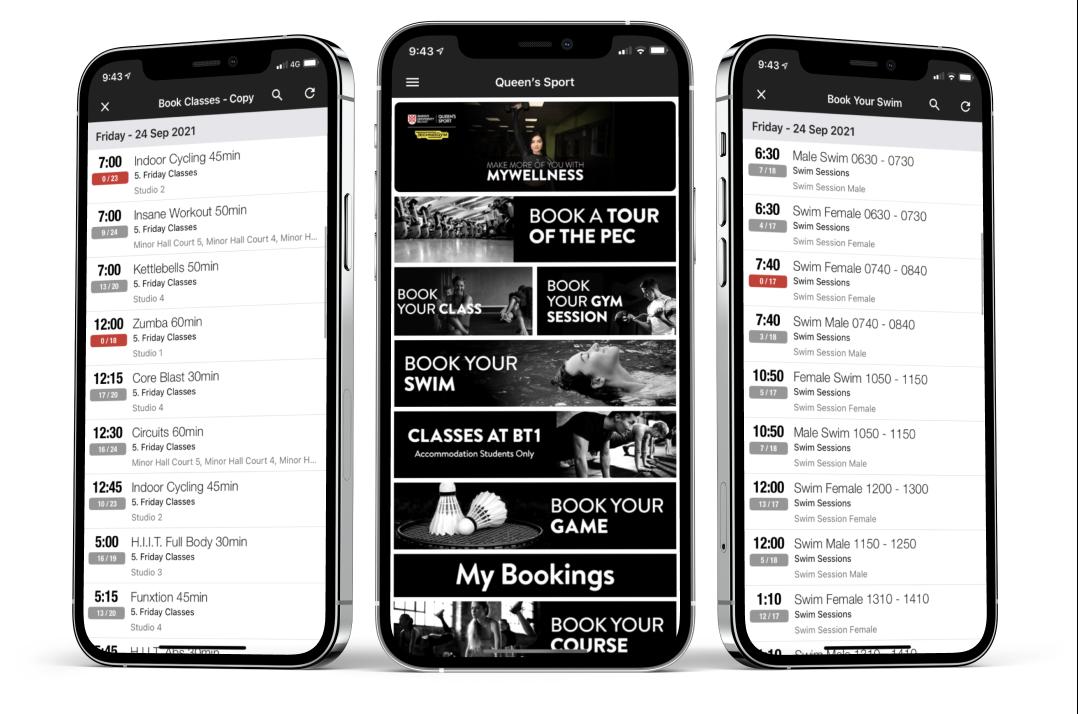 Queen's university bookings in App