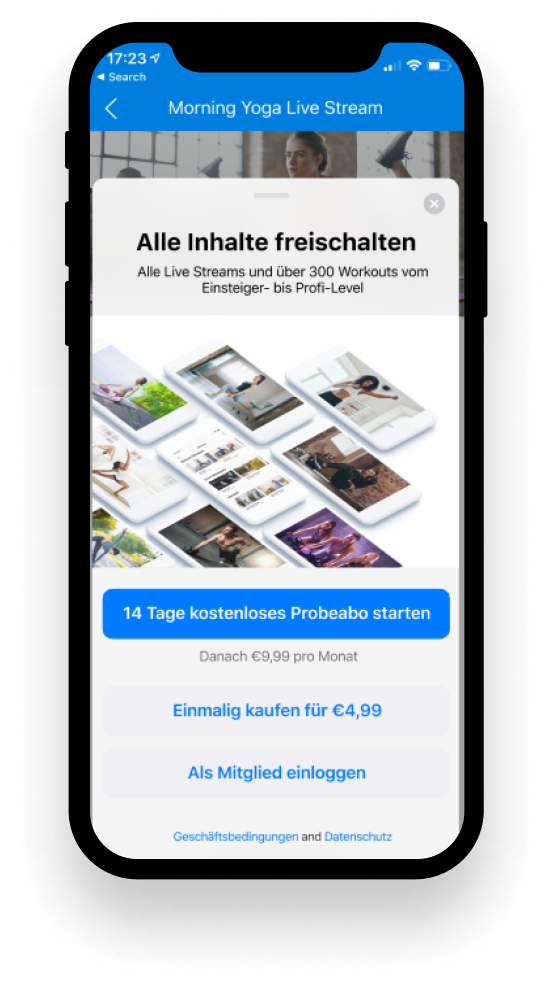 myFitApp@home monetarisierung mit in-app purchase DE