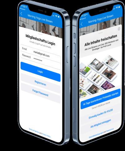 In-App Käufe Mitglieder Login Paywall