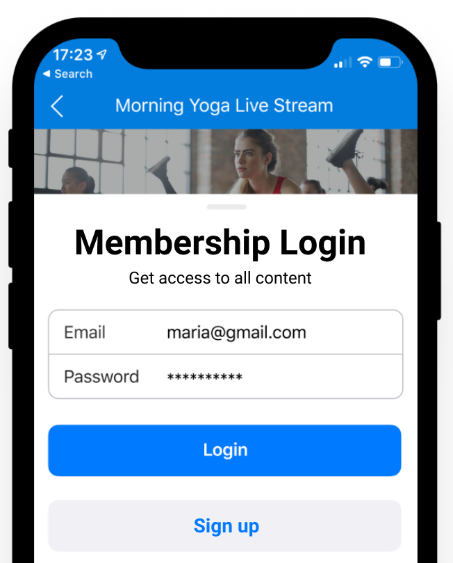 In app purchase log in screen