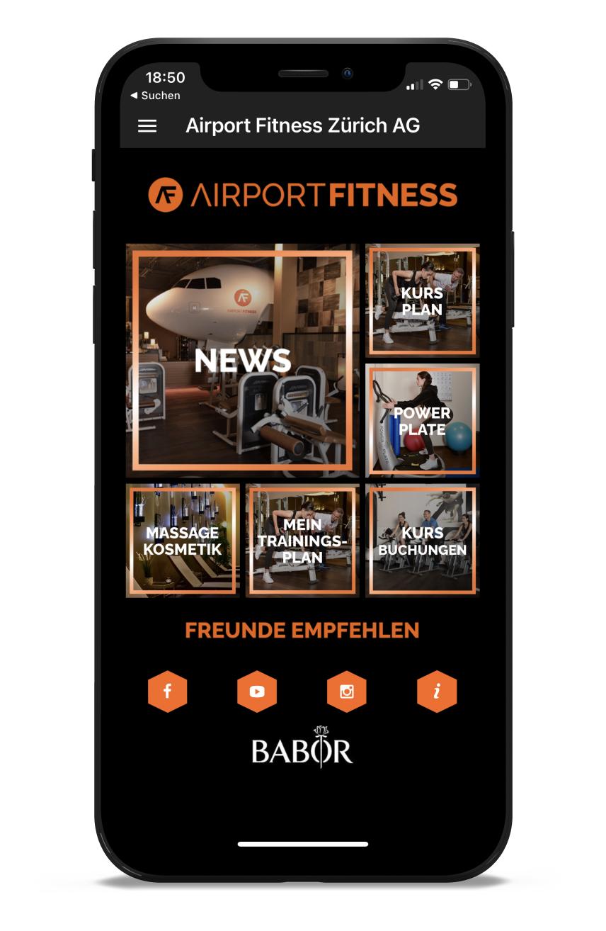 Airport Fitness Homescreen Kunden myFitApp