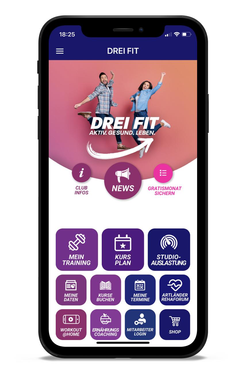 DREI FIT Homescreen Kunden myFitApp