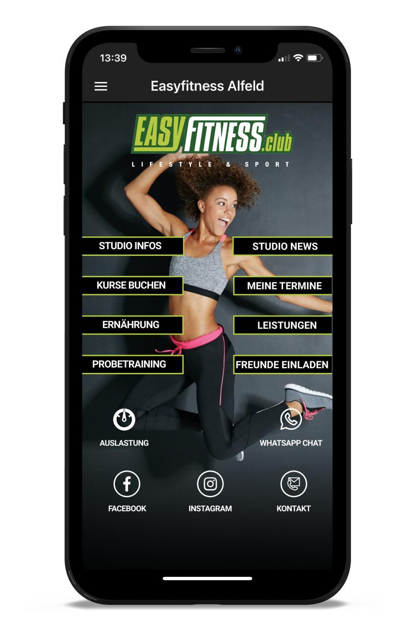 EasyFitness Homescreen Kunden myFitApp