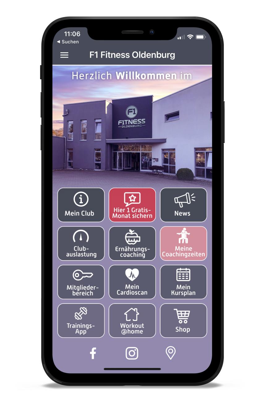 F1 Homescreen Kunden myFitApp