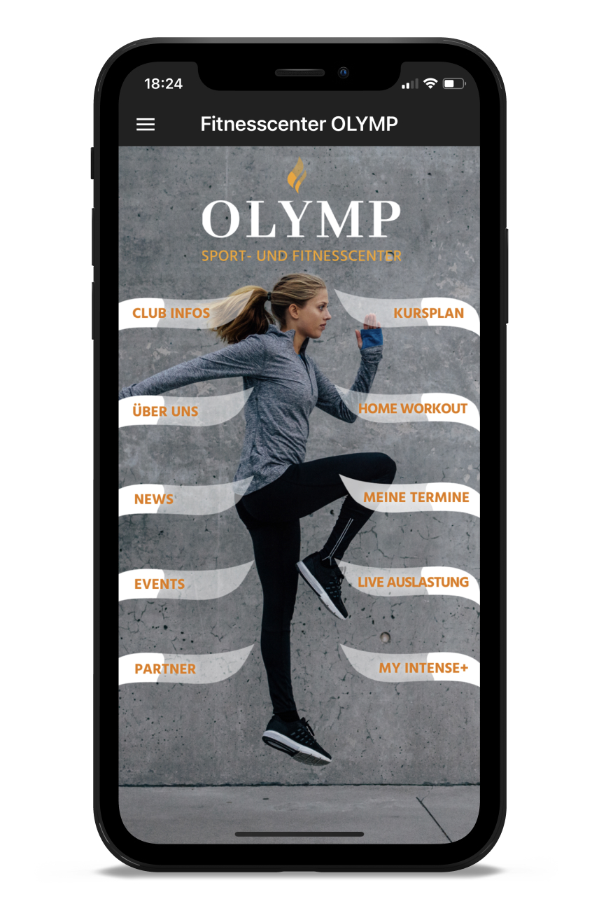 Fitnesscenter OLYMP Homescreen Kunden myFitApp