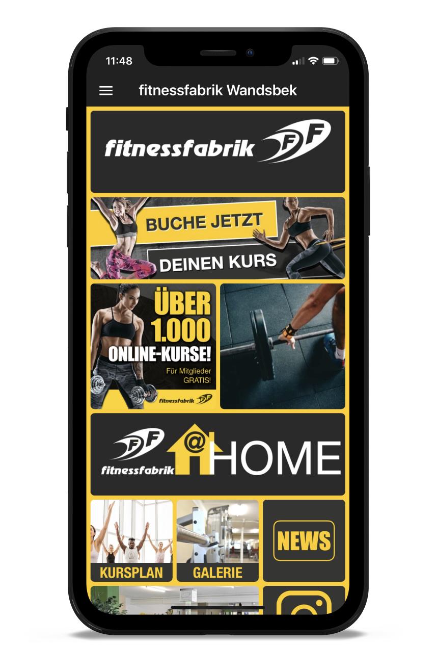 Fitnessfabrik Homescreen Kunden myFitApp