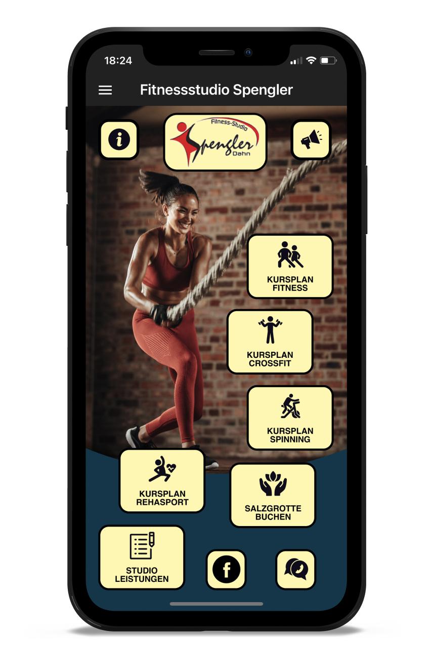 Fitnessstudio Spengler Homescreen Kunden myFitApp