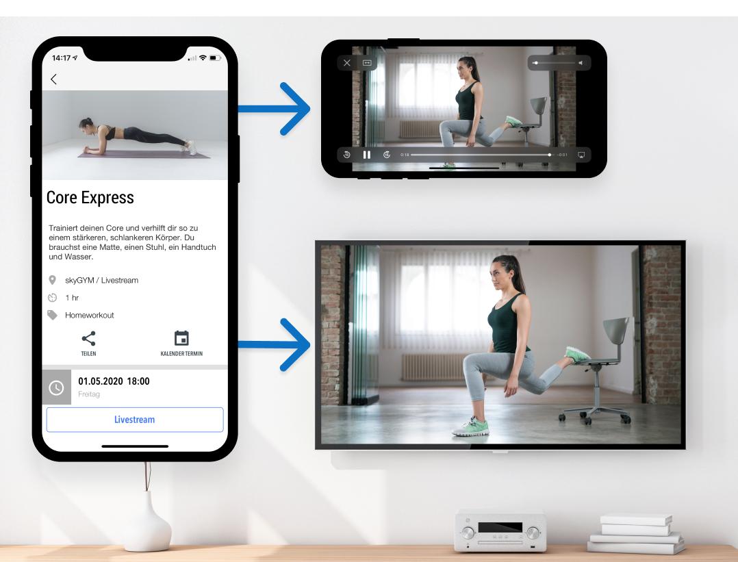 Einfach für Mitglieder Workouts aus der App streamen myFitApp@home