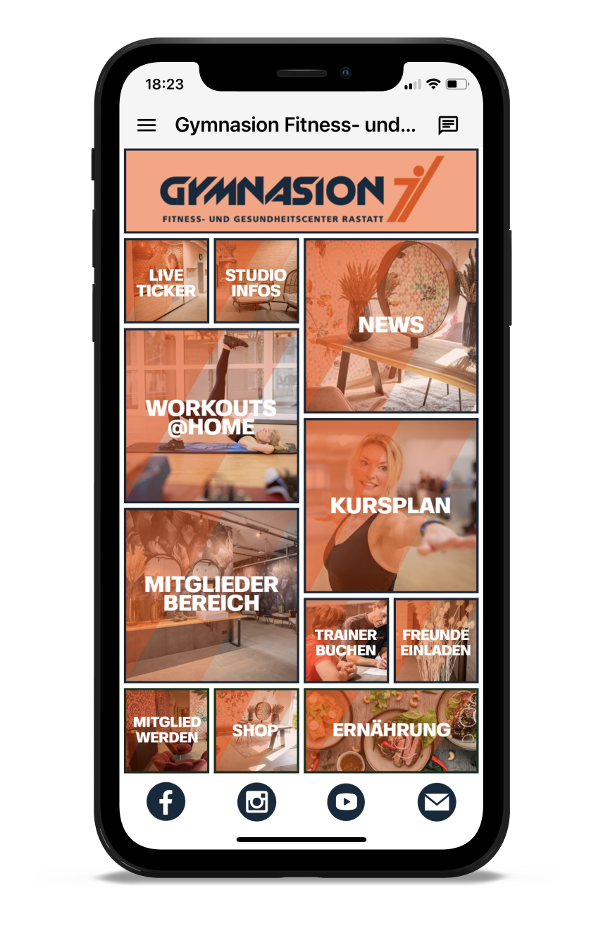 Gymnasion Homescreen Kunden myFitApp