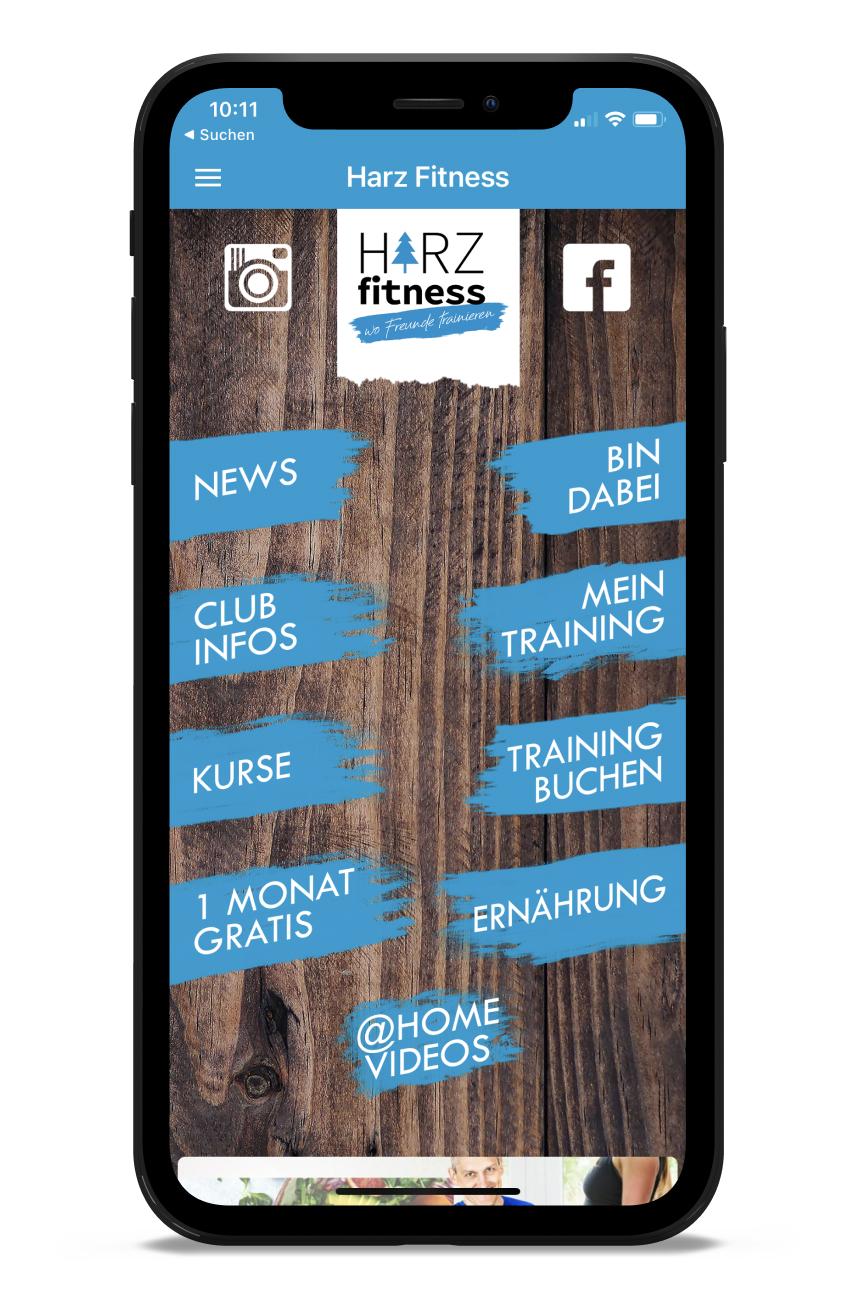 HARZ Fitness Homescreen Kunden myFitApp