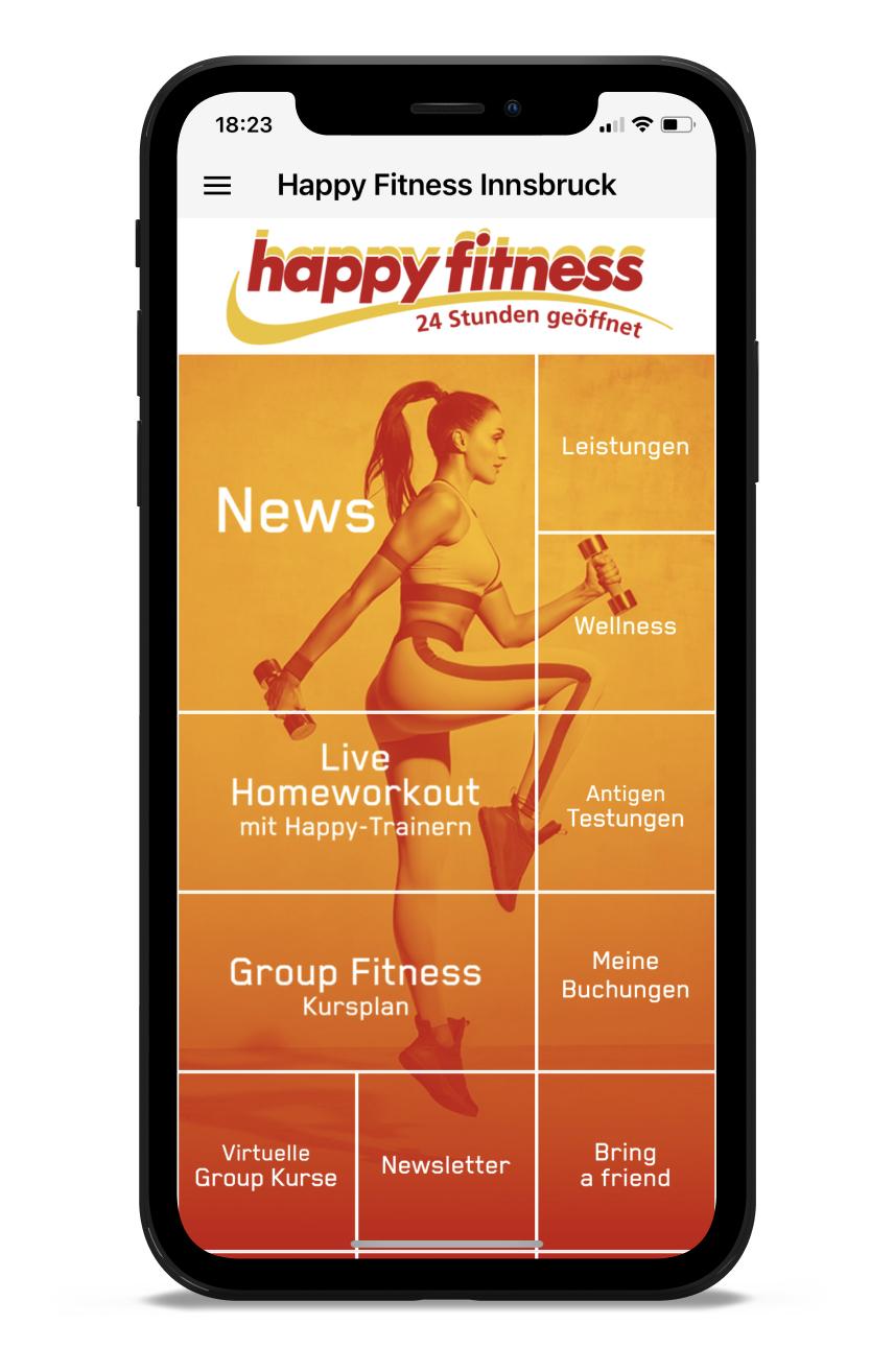 Happy Fitness Homescreen Kunden myFitApp