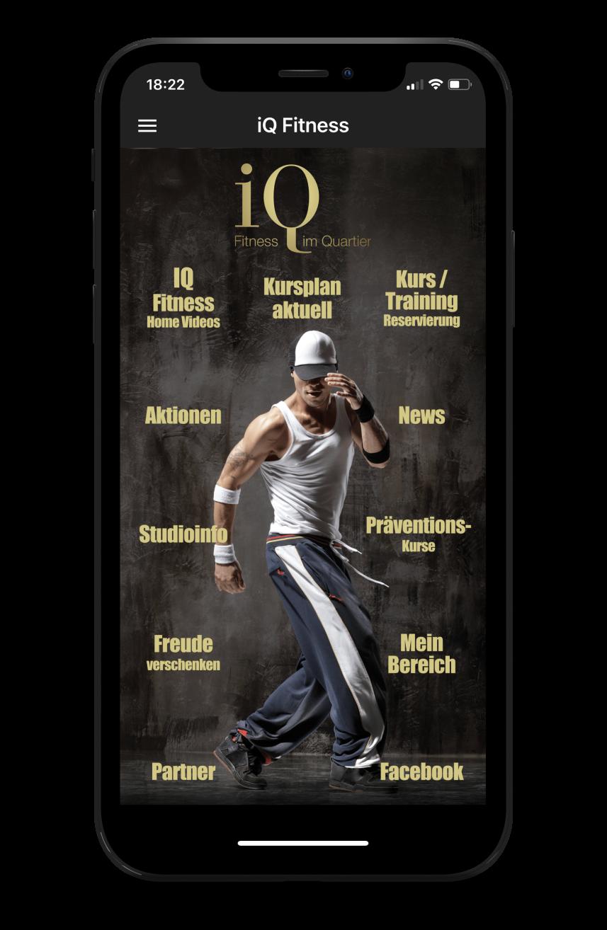 IQ Fitness Homescreen Kunden myFitApp