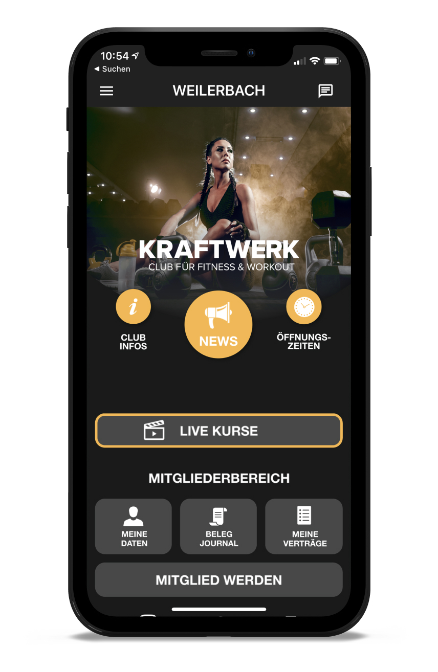 KRAFTWERK Homescreen Kunden myFitApp