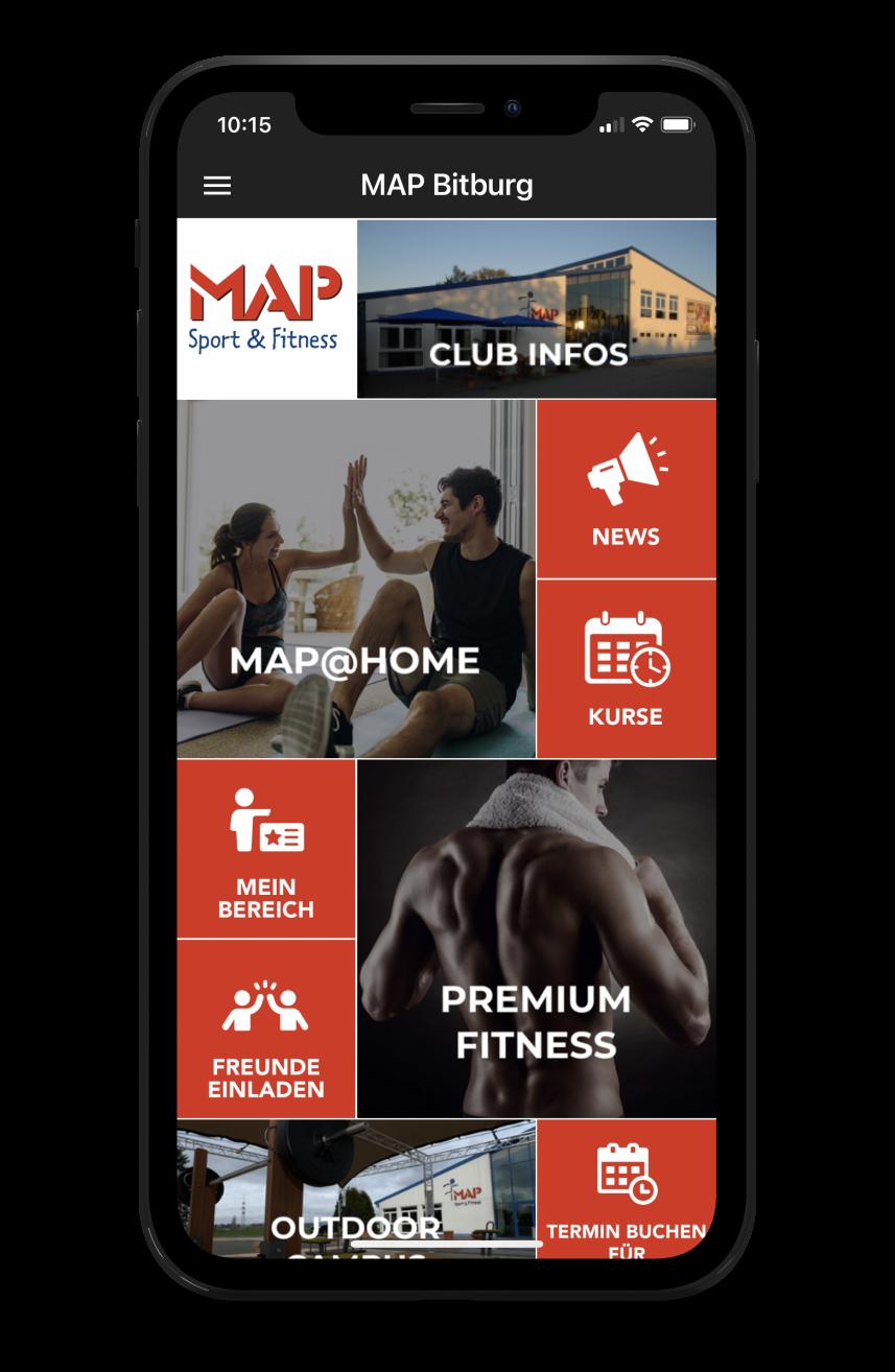 MAP Bitburg Homescreen Kunden myFitApp
