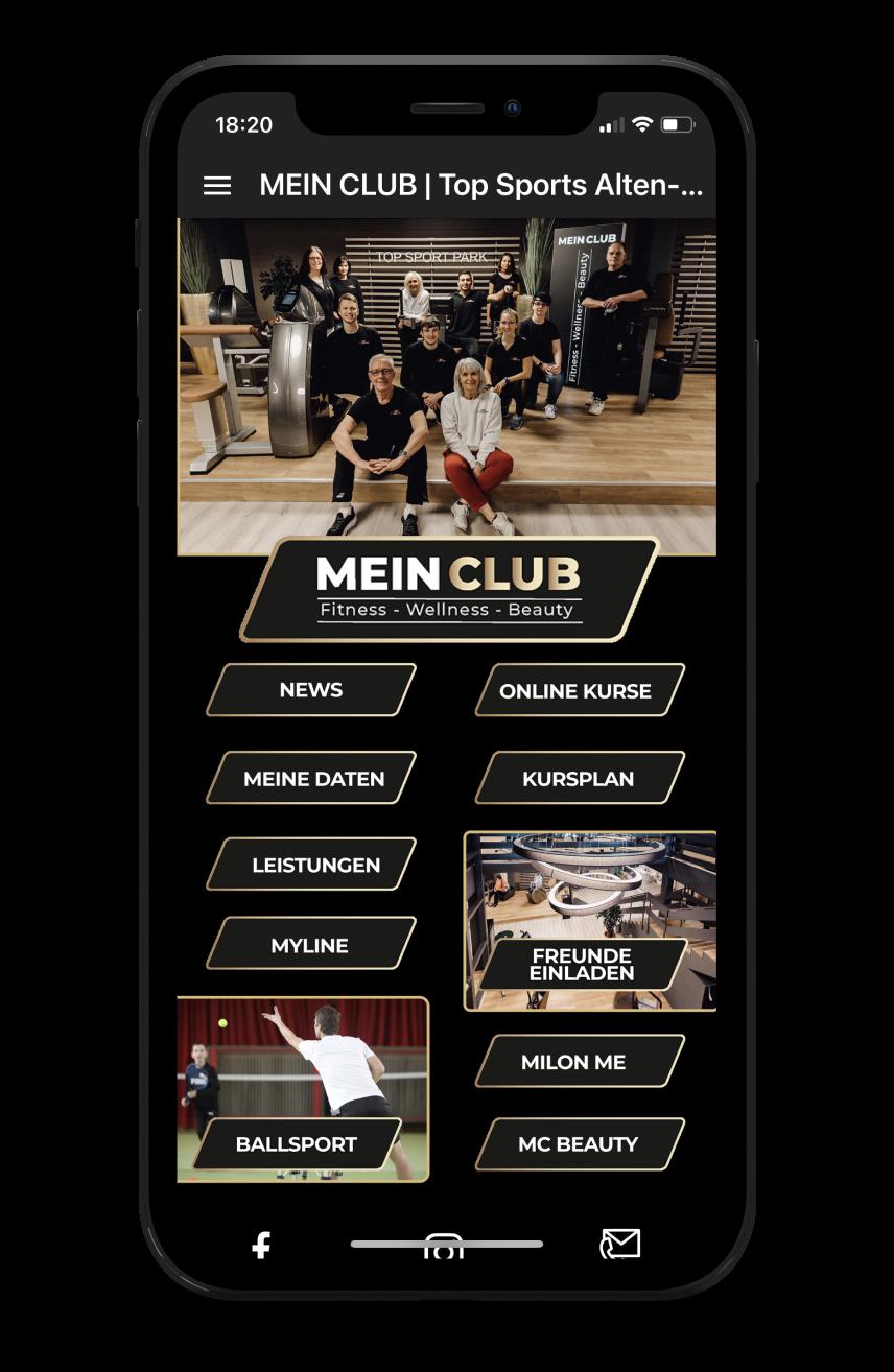 MEIN CLUB Homescreen Kunden myFitApp
