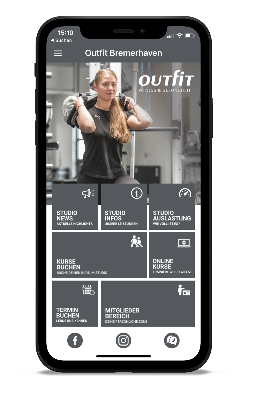 OUTFIT Homescreen Kunden myFitApp