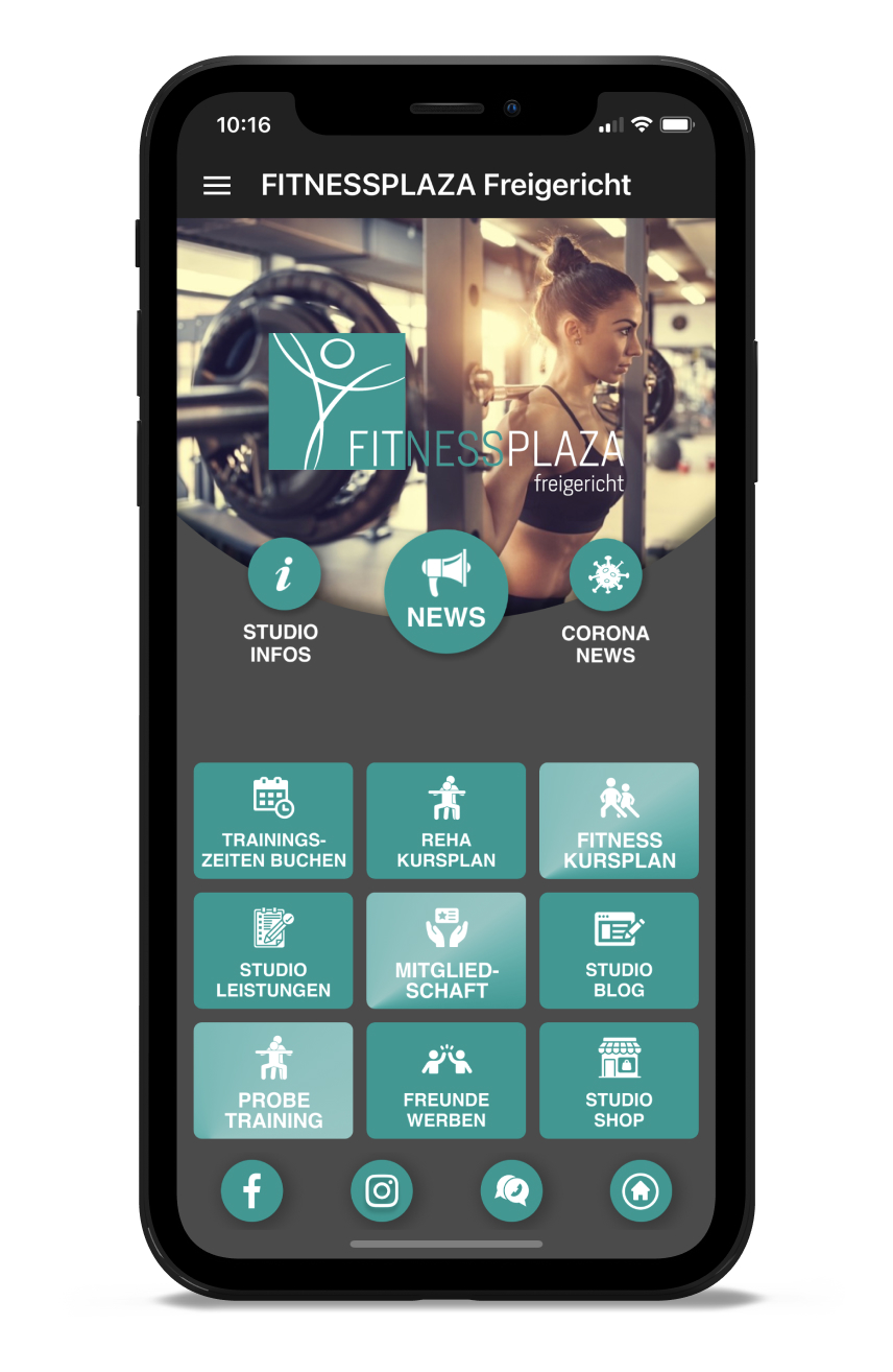 PLAZA Homescreen Kunden myFitApp