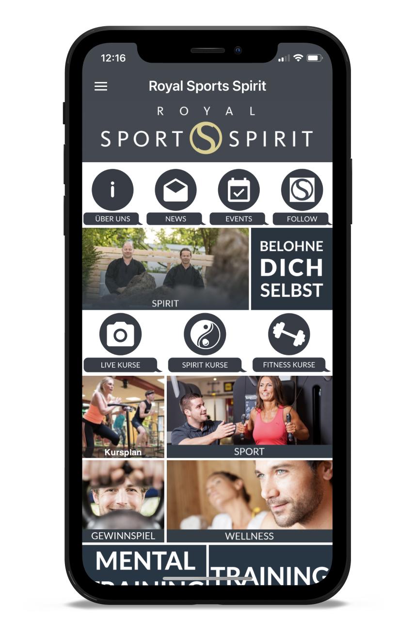 Royal Sports Spirit Homescreen Kunden myFitApp