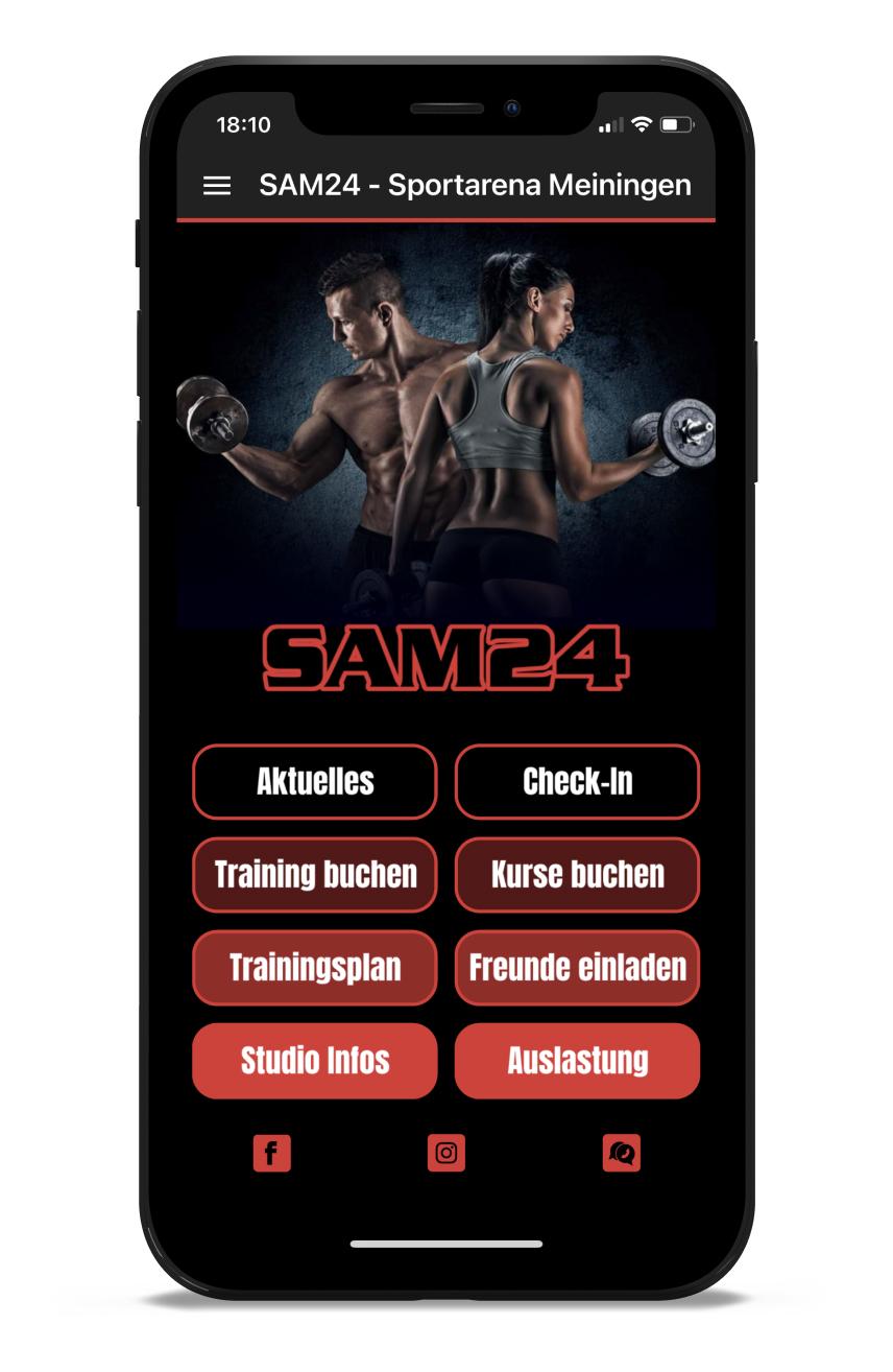 SAM24 Homescreen Kunden myFitApp