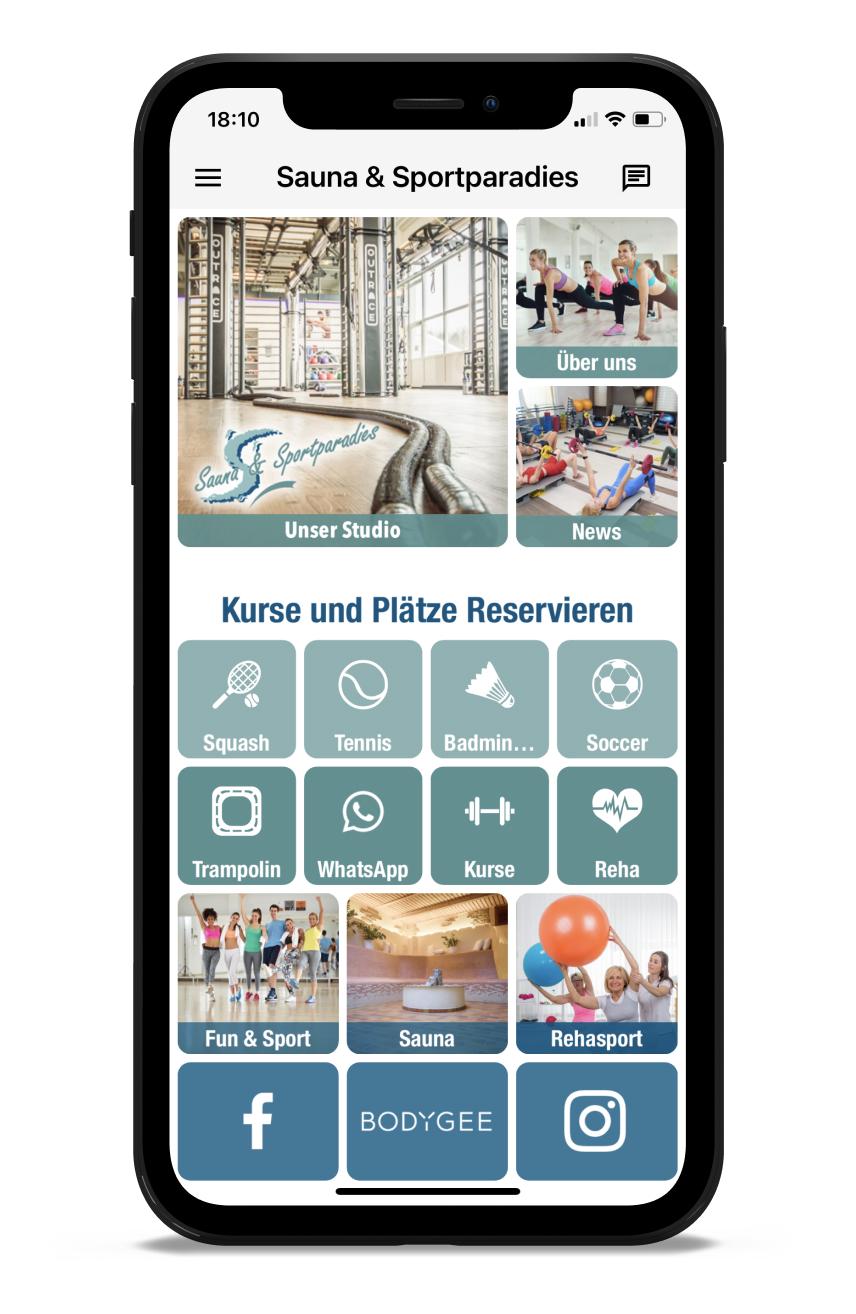 Sauna & Sportparadies Homescreen Kunden myFitApp