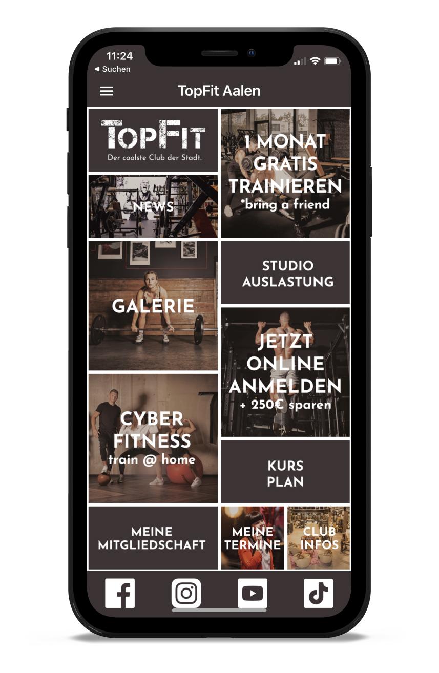 TOPFIT Fitness Homescreen Kunden myFitApp