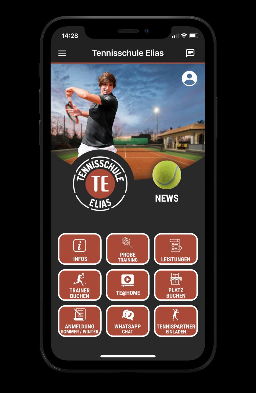 Tennisschule Elias Homescreen Kunden myFitApp