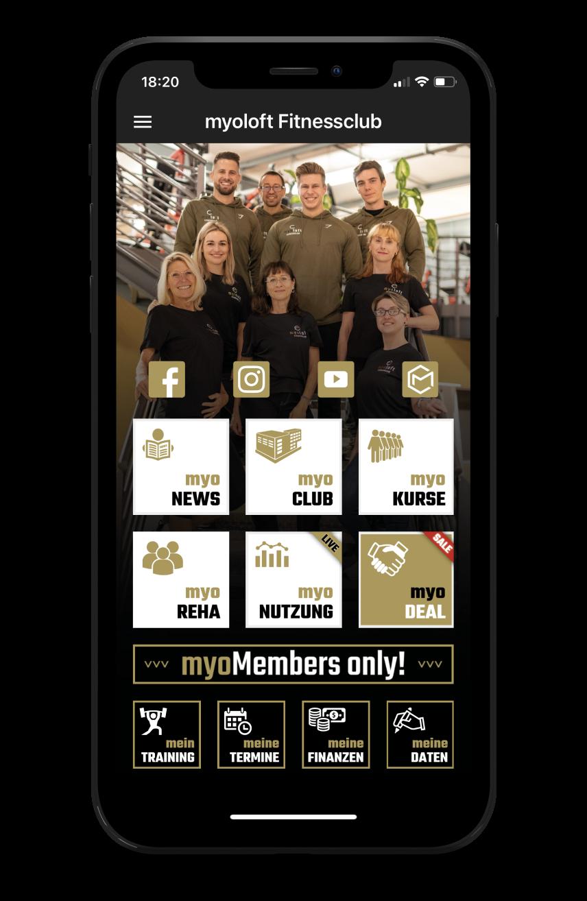 myoloft Homescreen Kunden myFitApp