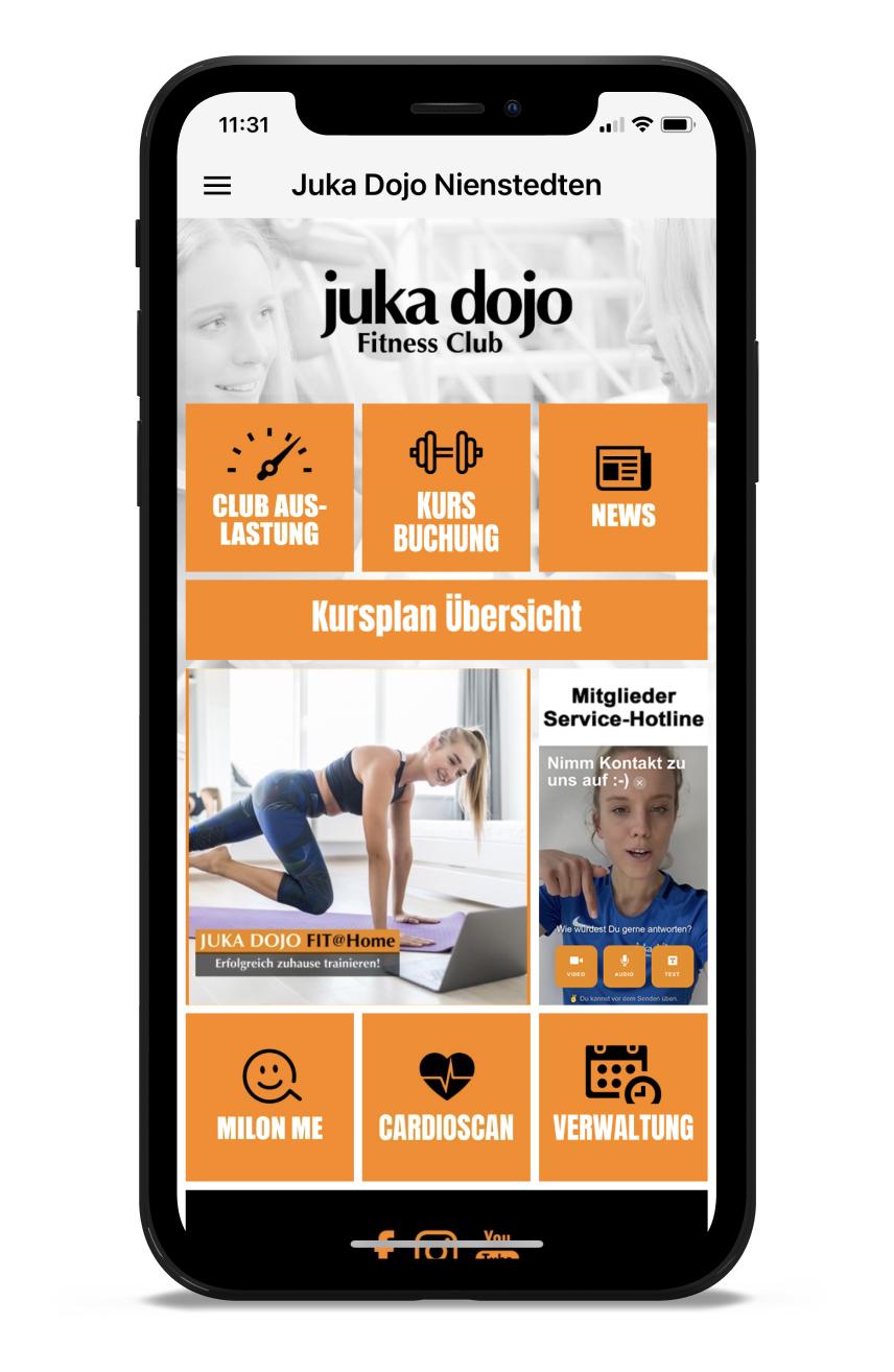 Juka Dojo Homescreen Kunden myFitApp